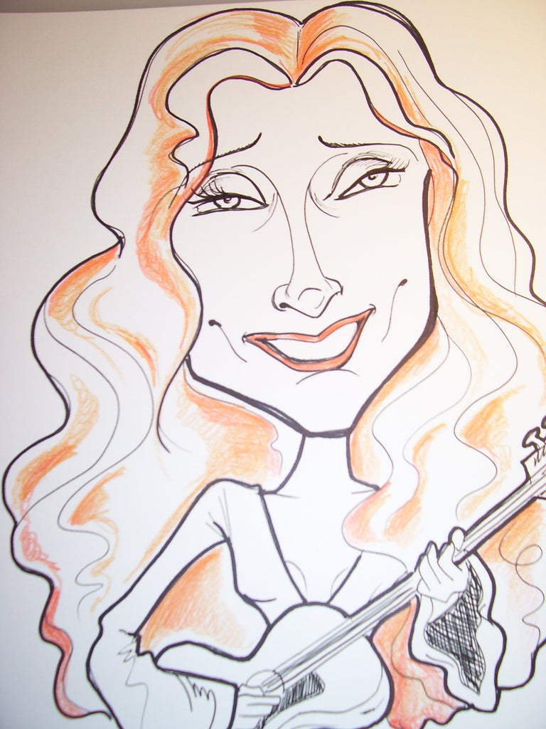 Bonnie Raitt Rock and Roll Caricature