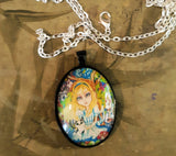 Alice and Friends Fairytale Pendant Art Necklace