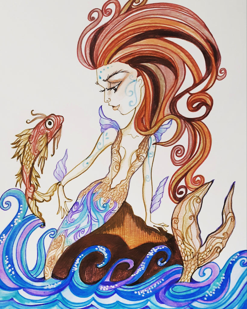 Blue Mermaid Fantasy Art