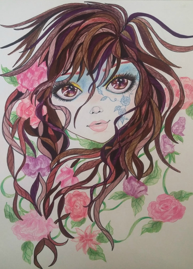 Brie Pink Flowers Face Fantasy Portrait Art Print