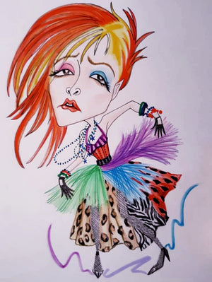 Cyndi True Colors Rock and Roll Caricature