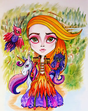 Fantasy Firebird Girl Art Print by Leslie Mehl Art