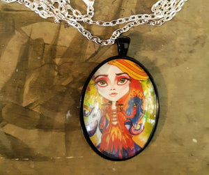 Big Eye Firebird Fantasy Art Pendant