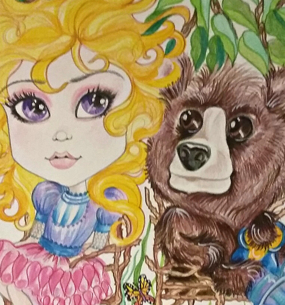 One Bear and Goldilocks Fairytale Fantasy Big Eye Art Print
