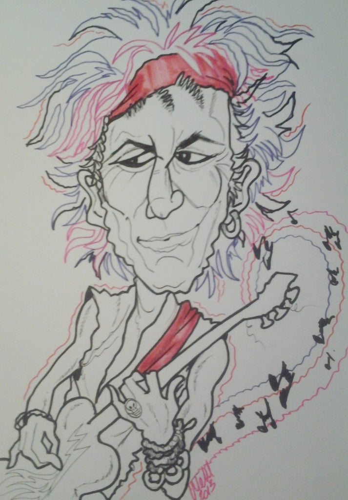 Old Keith Rock and Roll Caricature Art Print
