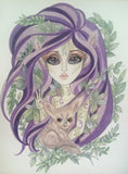 Fantasy Girl and Fox Mangrove Leaves Art