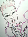 Pink Rock and Roll Caricature
