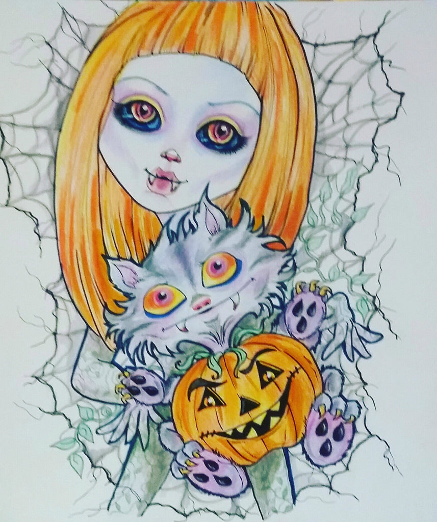 Halloween Pumpkin Spice  and Dead Arthur Cat Lowbrow Art Print
