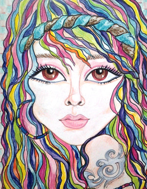Rainbow Boho Pop Art Fantasy Woman's Face
