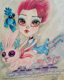 Pop Surrealism Rabbit Run Low Brow Big Eye Art Print