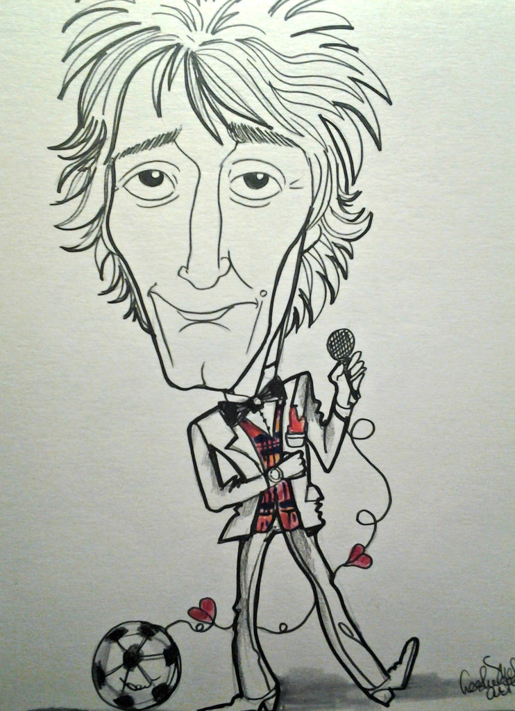 Rod Stewart Now Pop Portrait Rock and Roll Caricature Music Art