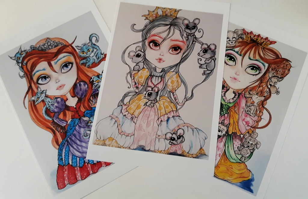 Little Royals and Cats, Dogs and Mice 5 x 7 print set cute whimsical art by Leslie Mehl