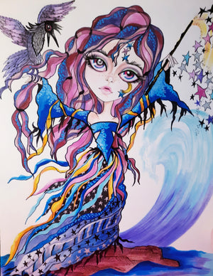 Horror Girl Sea Witch Fantasy Art Print