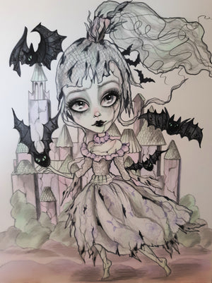 Horror Ghost She Was Haunted Goth Art Print