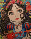 Snow White In The Woods Big Eye Fairytale Fantasy Art Print