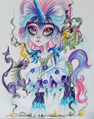 Gossip Dragons and Fantasy Unicorn Art Print by Leslie Mehl Art