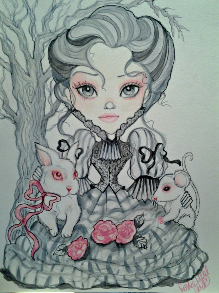 Victorian Gray Girl with Albino Animals Fantasy Art Print