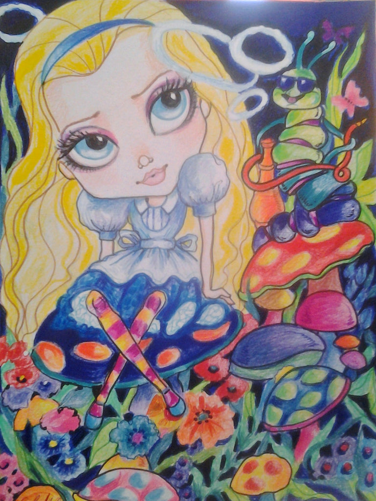 Alice and the Caterpillar Fairytale Big Eye Art Print