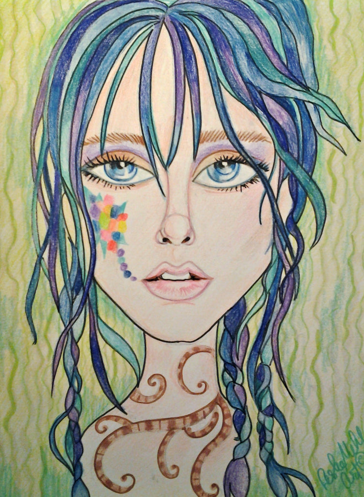 Blue Henna Pop Art Fantasy Woman's Face