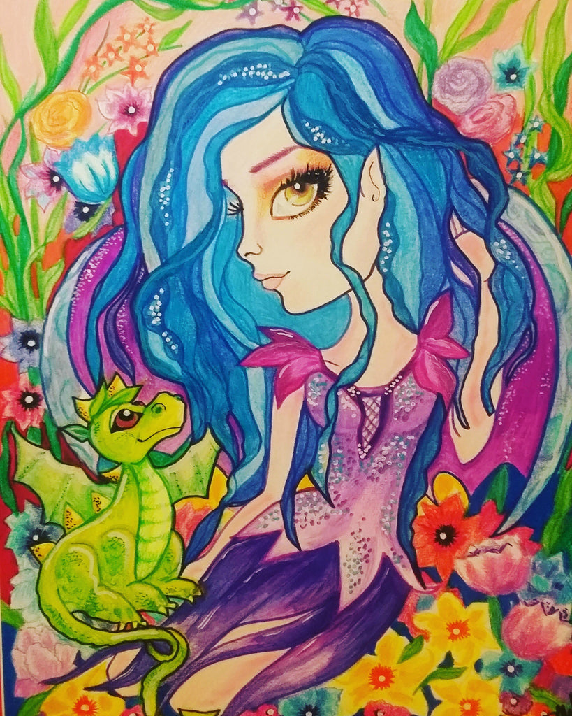Fantasy Blue Fairy and Dragon Baby Big Eye Art Print by Leslie Mehl