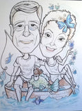 Caricature of Two People in Black and White with a Touch of Color