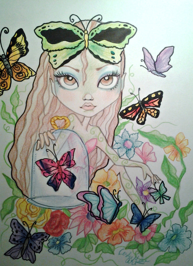 Butterfly Girl Big Eye Girl Fantasy Art Print