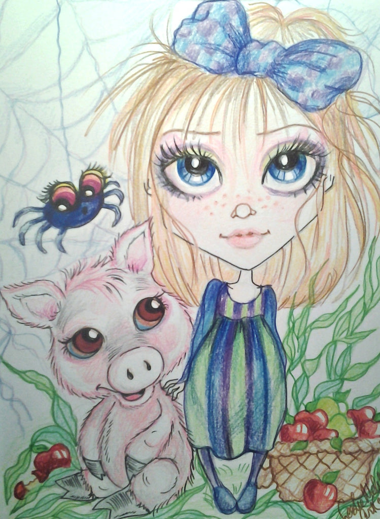 A Girl, her Pig and their Spider Art Print