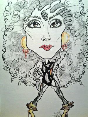 Cher Pop Portrait Rock and Roll Caricature Music Art