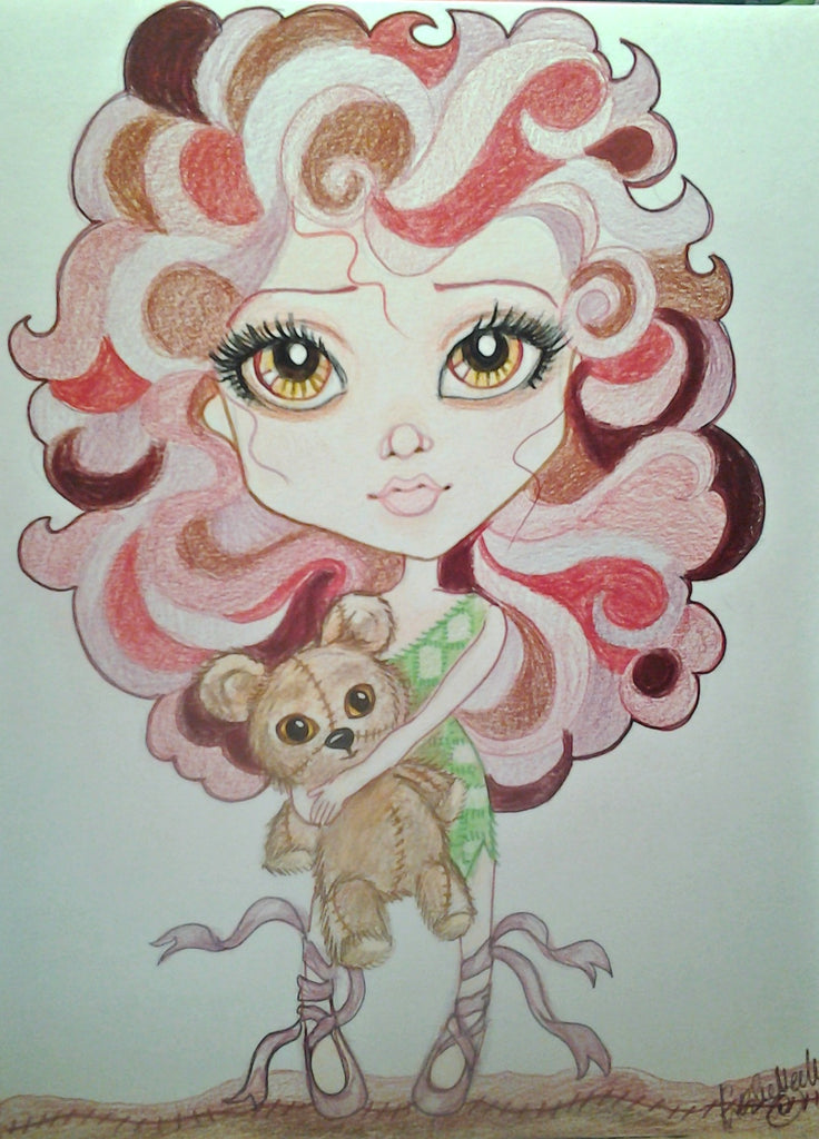 Longing For Childhood Fantasy Big Eye Art Print