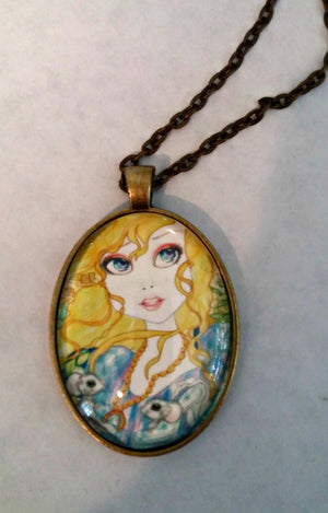 Fairytale Cinderella and the Mice Art Necklace Big Eye Art Jewelry