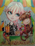 Circus Girl and her Monkey Man Art Print