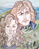 Claire and Jamie Outlander Romance Pop Culture Portrait Art Print