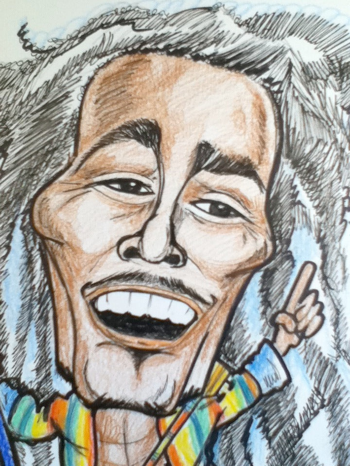 Bob Marley Full Color Rock and Roll Caricature