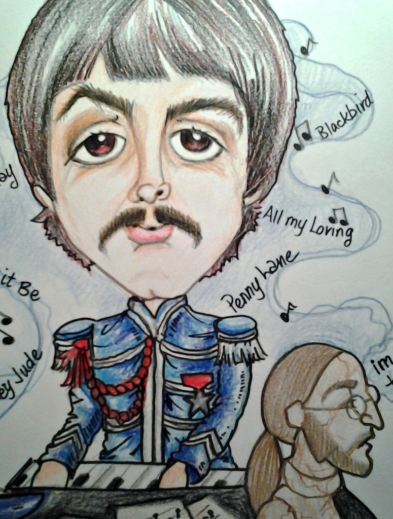 Paul McCartney Full Color Rock and Roll Caricature
