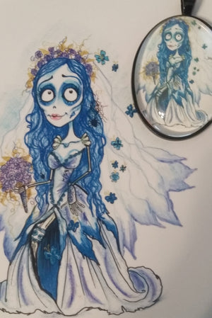 Blue Bride Horror Art Pendant