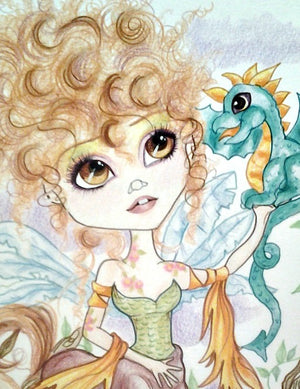 Curly Haired Centauress and the Dragon Fantasy Art Print