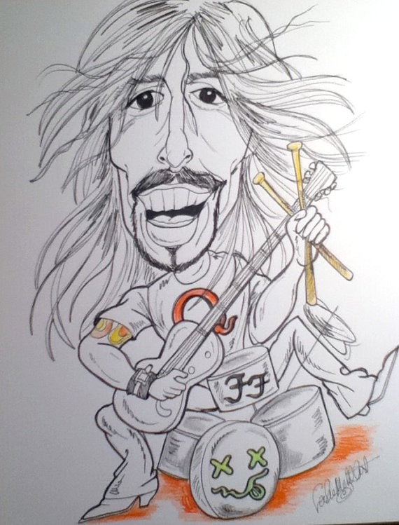 Dave Grohl Rock and Roll Caricature