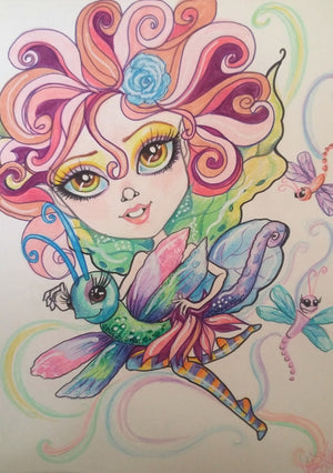 Dragonfly Fairy Fantasy Big Eye Art Print