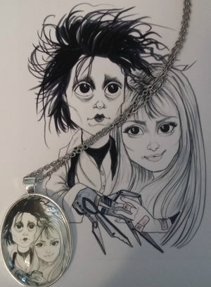 Scissorhands Horror Pendant Lowbrow Fantasy Art