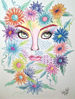 Flower Face Pop Art Fantasy Woman's Face