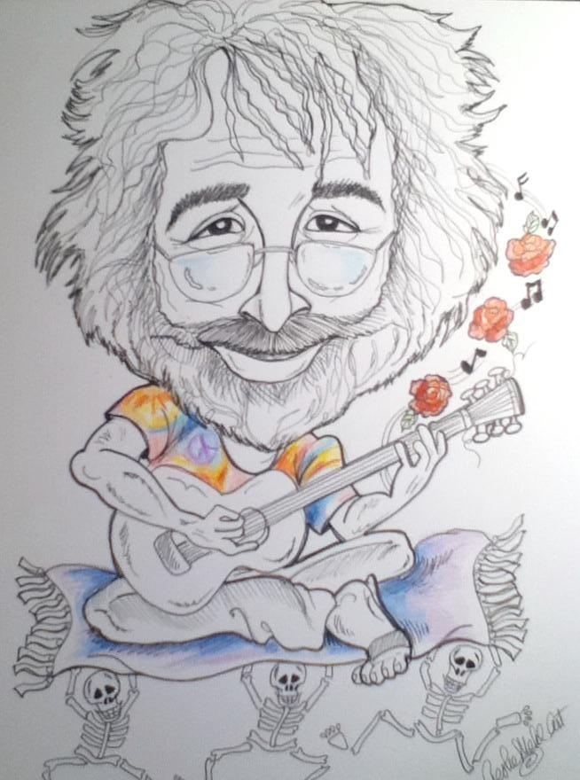 Jerry Garcia Rock and Roll Caricature