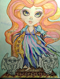 Gothic Girl and the Gargoyles Fantasy Big Eye Art