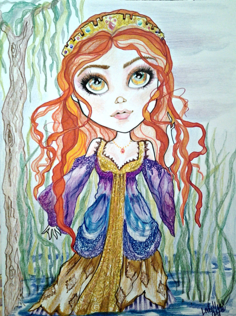 Guinevere Walks On Water Big Eye Fantasy Art Print by Leslie Mehl