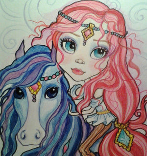 Fantasy Art Gypsy Horse Big Eye Girl