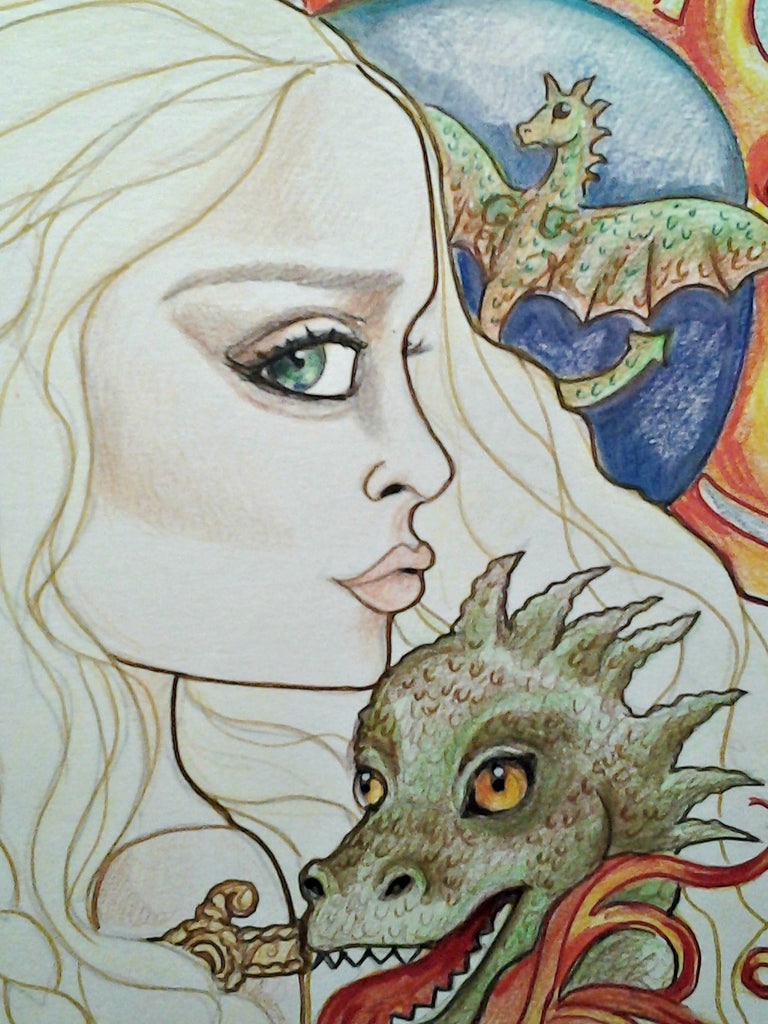 Ice and Fire Face Portrait Dragon Mother