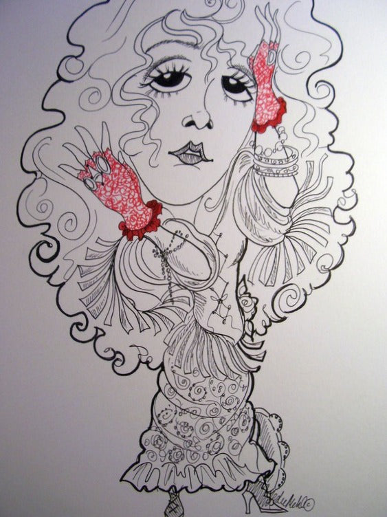 Stevie Nicks Rock and Roll Caricature