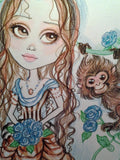 Victorian Jenna and the Monkey  with the Blue Roses Fantasy Art Print