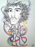 Jimi Hendrix In A Hat Rock and Roll Caricature Pop Art Music Print
