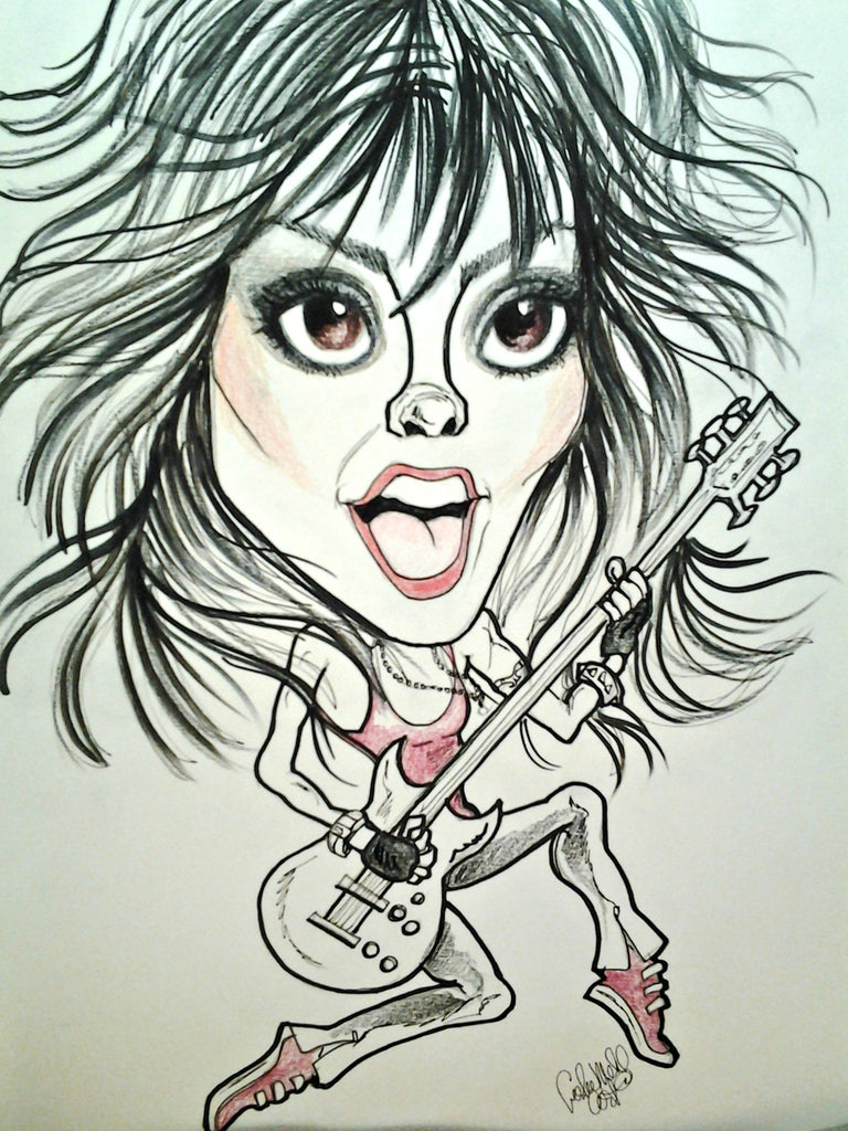 Joan Jett Pop Portrait Rock and Roll Caricature Music Art