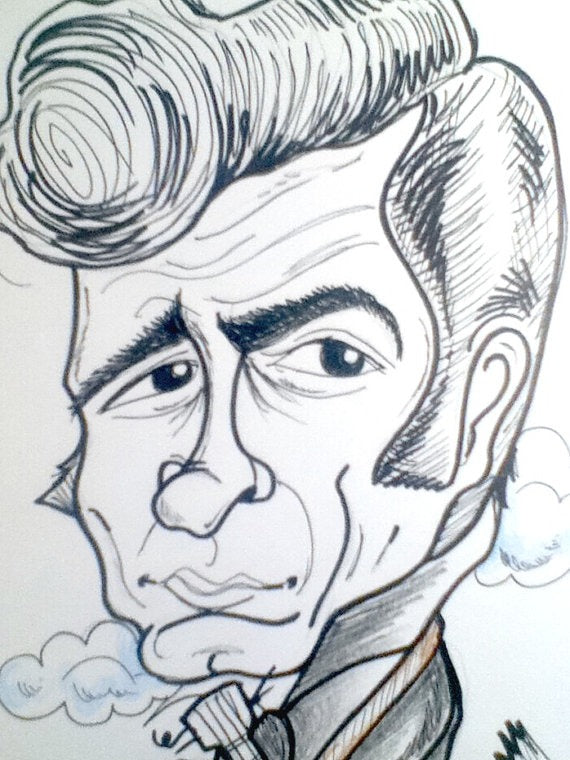 Johnny Cash Rock and Roll Caricature